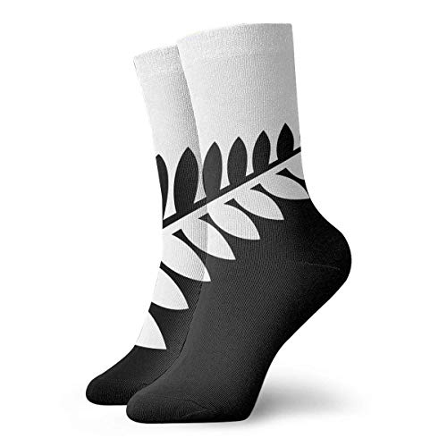 best pillow NZ Flag Silver Fern Black & White Cute Crazy Crew Socks Comfortable Novelty Socks 11.8 inch