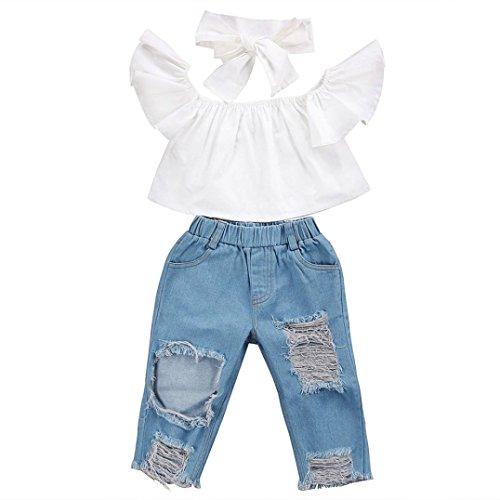 Babykleidung Mädchen Off Schulter Crop Tops + Loch Jeans Hose Kinderbekleidung Blumen Drucken Kleider Set Kinder Kleidung Sommer Outfits (0-7T) Xinantime (18-24Monat, Weiß)