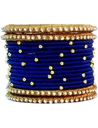 Blue Jays Hub Silk Thread Bangles Blue And Gold Color Set Of 16