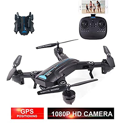 Drone, LLRC 2.4GHz GPS Wide-Angle 1080P HD Wifi Camera Fpv Foldable RC Quadcopter Drone Suitable for Boys Christmas Gifts Gifts for Adults