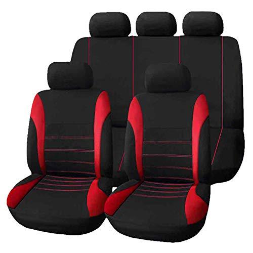 Drgger Autositzbezüge - 9 Teile von Universal-Autositzbezügen, vordere hintere Kopfstützen, komplette Sets, Wasserdichte Autositzbezüge. (Color : Red)