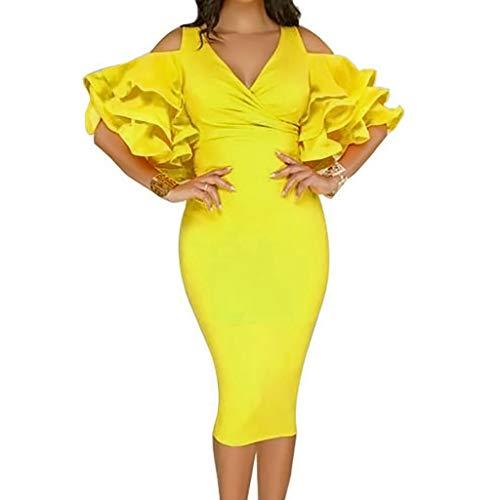 Loveso Fashion Damen Cocktailkleid Abendkleider Sexy V-Ausschnitt Kleid Kurze Elegante Schulterfrei Zerzaust Partykleider für Hochzeit Abend