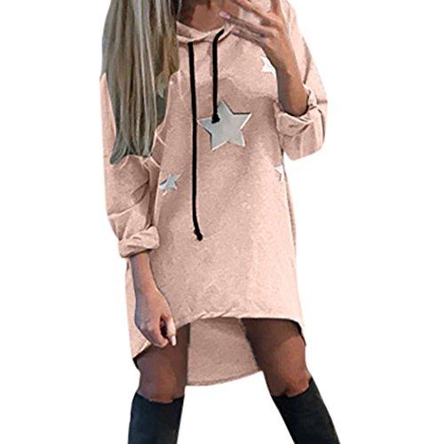 Sweatshirt Damen Sunday Pentagramm Gedruckt Kleid Hoodies Sterne Gedruckt Mini Kleid Freizeit Kapuzepullover (Orange, L) (Sie Zeigen T-shirt Tee Schwarzen)
