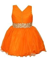 Chipchop Kids Girls Partywear Orange and Golden Net Dress - 1 Year, 2 years, 3 Years, 4 Years, 5 Years, 6 Years, 7 Years