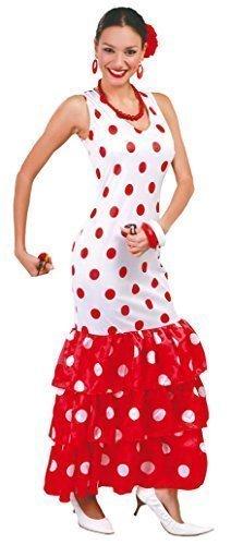 Fancy Me Damen Sexy Spanisch Tänzer weiß/rot gepunktet Flamenco International Kostüm Kleid Outfit 14-18 - Weiß/Rot, Large Flamenco-outfits