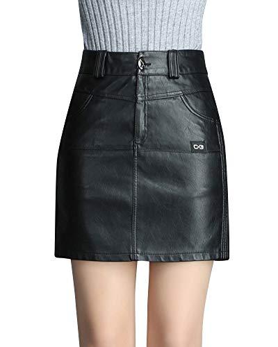 Quge Imitación Cuero Faldas Corta De Tubo Mujer Elegante Mini Falda De Cintura Alta Negro 2XL
