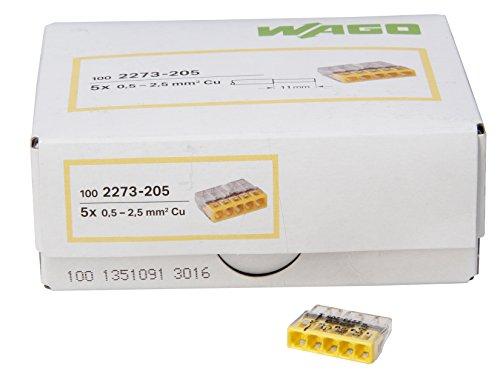 Kopp 33346423 WAGO COMPACT-Verbindungsdosenklemme 5-Leiter-Klemme gelb 0,5-2,5 mm² Inhalt 100 Stück, Transparent -