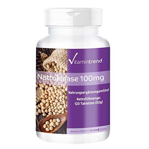 Nattokinase 100mg - 120 Tabletten - Made in Germany -vegan - 2000 FU (Natürlich Vitamine Nattokinase)