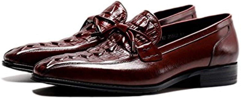ZPEDY Zapatos De Negocios Otoñales De Los Hombres En Relieve Zapatos De Cuero Perezosos del Patrón -