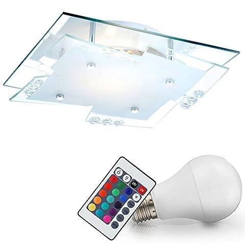 Luxus LED RGB 7 Watt Decken Lampe Farbwechsler Fernbedienung Chrom