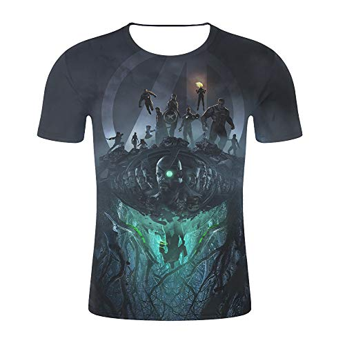 Stahl Kostüm Eisen Mann - Herren 3D Print T-Shirt Sport Schweiß absorbierend schnelltrocknend atmungsaktive Kurzarm Halloween Cosplay Kostüm (L, Black)