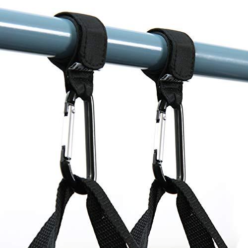 TALINU Kinderwagenhaken – Karabinerhaken aus Aluminium – 2er Set, schwarz, stabil, belastbar, flexibel – Kinderwagenbefestigung, Universalhaken