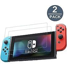 Nintendo Switch Panzerglas, [2-PACK] Y-ouni 0,3mm Dünn, 9H Härtegrad, 2.5D Abgerundete Kanten - Kratzfest - Hohe Transparenz - Fingerabdruck frei - Blasenfrei, Nintendo Switch 2017 Displayschutzfolie Glas