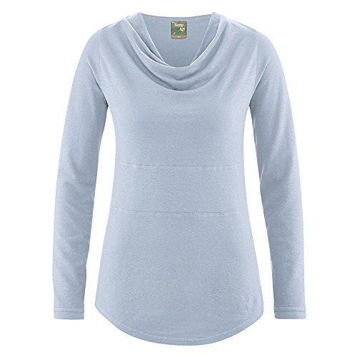 HempAge Damen Langarmshirt Rhianna aus Hanf und Bio-Baumwolle Clear Sky