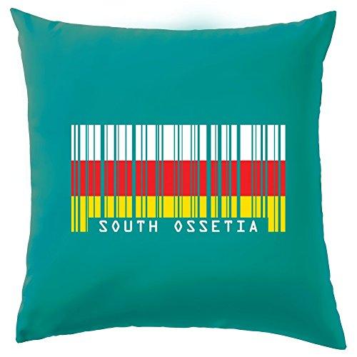 """Südossetien Barcode Stil Flagge Kissen–41x 41cm (40,6cm)–10Farben, 100 % Baumwolle, türkis, 41 x 41cm (16"""")"""