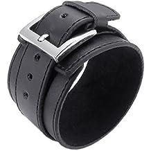 Pulsera ancha de cuero - SODIAL(R) pulsera de joyeria de hombres y mujeres, brazalete ancho de cuero, hebilla, negro