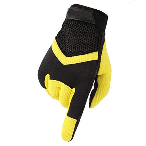 Jolly Outdoor-Sportschuhe zum Wandern mit rutschfesten Handschuhen Frühjahr und Herbst Fitness Sonnencreme atmungsaktive Handschuhe mit Vollfingerhandschuhen (Farbe : Gelb)