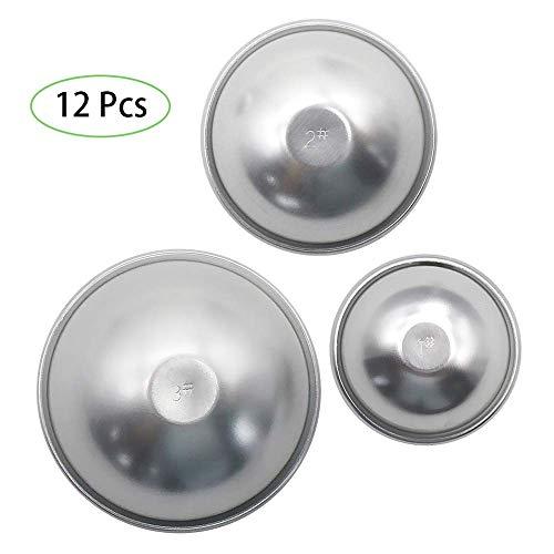Bombe Formen Set 12 Stück (Gesamt 6 Sätze) 3 Größe DIY Metall Bad Bombe Form für die Herstellung Ihrer eigenen Fizzies, Bad Ball Cake Pop Maker, Aluminiumlegierung Formen ()