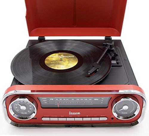 funzione Bluetooth USB 3 velocit/à 33, 45, 78 Rosso Lauson 01TT17 Giradischi Designer Auto depoca 2 altoparlanti stereo da 3W integrati lettore lp con radio FM AUX