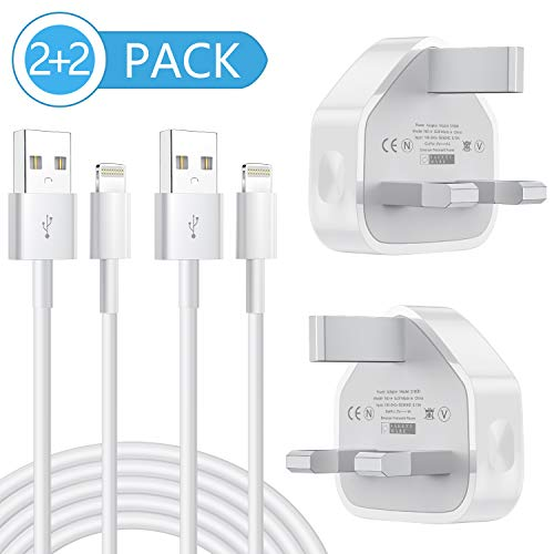 Vinpie USB Plug Charger, MFi Certified iPhone Charger, 2-2 Pack 1M lightning Cable with Replacement Wall Charger Adapter Plug Block Compatible iPhone Max/XR/X/8/8 Plus/7/7 Plus/6/6S/6