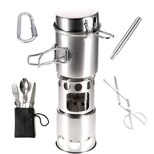Aniuxiaege, juego de utensilios de cocina de acero inoxidable para acampar, color...