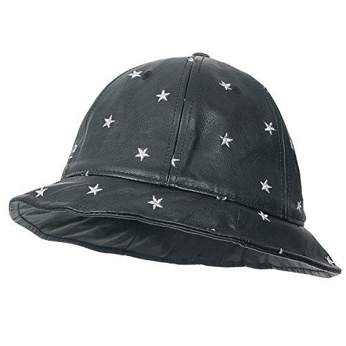 ililily Stern gemustert schwarz Schlapphut rund Oberteil Fedora künstliches Leder Eimer Hut , Black Star (Brim Full Hut)