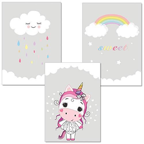ARTpin® 3er-Set Poster Kunst für Kinder, von Künstlerin - Dekoration für Babyzimmer, Kinderzimmer - im skandinavischen Stil - A4 Bilder für Mädchen Junge - Wandbild - Einhorn,Wolke,Regenbogen(P16)