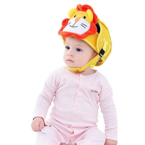 Per Baby Head Displayschutzfolie Helm Lovely Cartoon Tier Form Sicherheit Kopfschutz Kissen mit verstellbaren Trägern und Kinn Pad Schutz Gap Geschirre Hat für Infant Kleinkind Learn To Walk und Sit Baby Gap