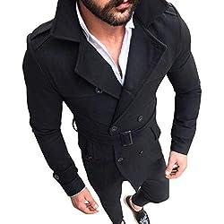 Herren Cardigan Coat,TWBB Zweireiher Formal Jacket Trench Coat Pullover Winter Lange Ärmel Mantel Outwear Hemd