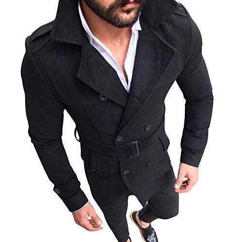 IMJONO Männer Herbst Winter Schlanke Passform Langen Ärmel Anzug Top Jacket (EU-48/CN-L,Schwarz)