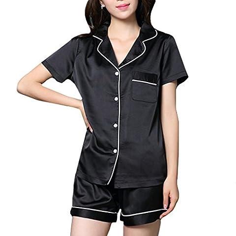 AiSi 2 Piece Set Ladies Satin Silk Pyjama Set Short Sleeve and Shorts Silky-L
