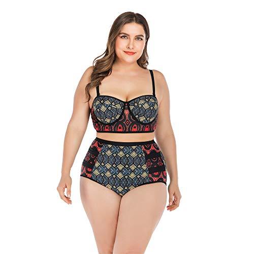 HBRT Große Größe Damen Bademode Bikini mit Stahl Unterstützung Brust Pad, schlanke Splicing Design Badeanzug komfortable Trend Rash Guard,XL (Rash Guard Mit Brust-pad)