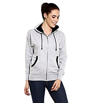 GOODTRY Women's Cotton Hoodies-Grey MelangeGTWH-029-GRY-S