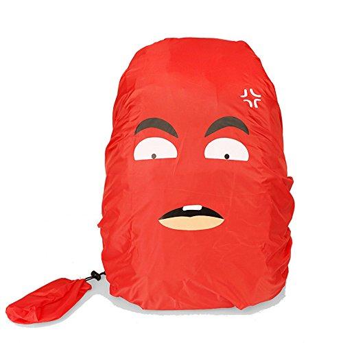 VERTTEE Rucksack Regenhuelle Schulrucksack Regenschutz Wasserdicht Tasche Karton Nylon 30-40L Staubdichte Abdeckung fuer Wandern Outdoor Schnee Rot
