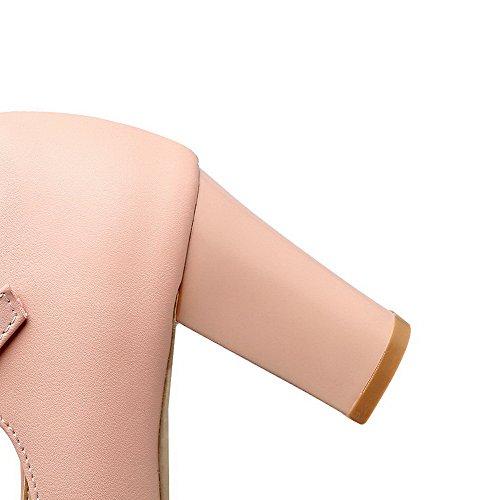 AgooLar Femme Fermeture D'Orteil Boucle PU Cuir à Talon Haut Chaussures Légeres Rose