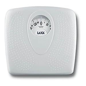 Báscula de baño clásica mecánica, Laica PL8019 color blanco, 130 kg. Superficie antideslizante