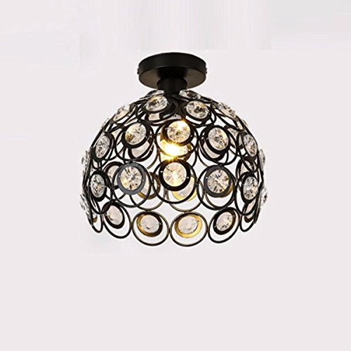 MS-61683 stilvolle kreative moderne Crystal Semi-Flush Mount Deckenleuchte Licht LED Gang Korridor Deckenleuchte (weiß 10,24 Zoll, Medium), schwarz 11,81 Zoll (Außen-deckenleuchten Flush-mount)