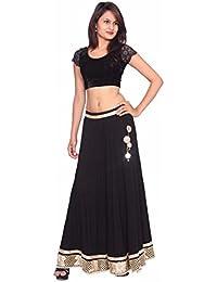 Vikha Women Traditional Designer Rayon Crepe Long Skirt With Heavy Border Zari Lace (VKLNGBLKGLDSKT25)