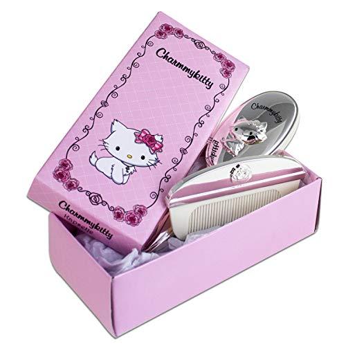 Charmmy Kitty Haar Styling-Set mit Namensgravur   Haarbürste und Kamm für Kinder in Rosa Geschenkverpackung   versilbert und anlaufgeschützt -