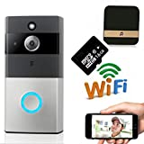 Smart Video Doorbell Wireless Home Security Anti-Theft Camera with Indoor Chime, 16G SD