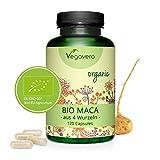 Maca Bio Du Pérou Vegavero | 120 Gélules | 750mg | Énergie, fertilité et stress | Sans Gélatine Ni Additifs | 4 Racines Différentes | Vegan