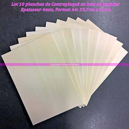 Lot 10 planches de Contreplaqué bois peuplier épaisseur 4mm, Plaque Format A4