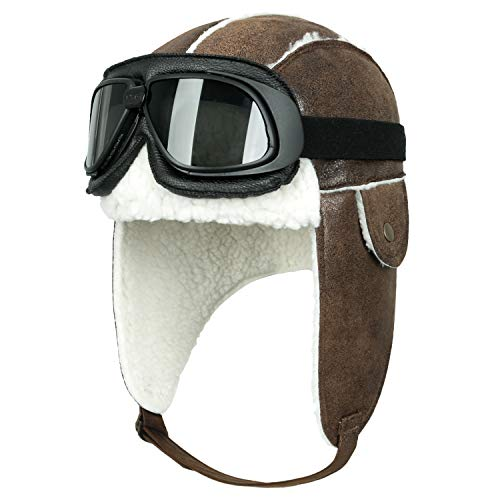 ililily Flugpilot Hut Winter Snowboard Pelz Ohr Flaps Trooper Uschanka Pilot Goggles (One Size, Light Brown&White/Black ()