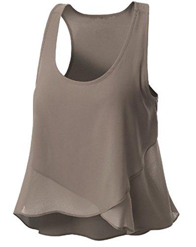 AILIENT Femme Bretelles Top Sans Manches DÉBardeur Couleur Unie T-Shirt En Mousseline Sexy Vest Hipster Blouses Gilet Ourlet Irrégulier gray