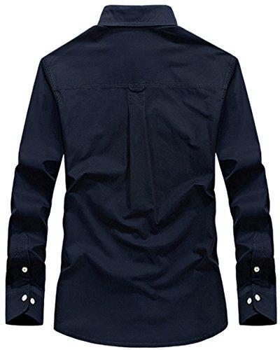 WS668 Herren 100% Baumwolle Casual Shirt Kariert Tops Gute Qualität Buttons Check Lange Ärmel Leicht Militär Hemd Mens Long Sleeve Shirt Marineblau-67001