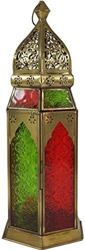 Guru-Shop Latón Oriental / Farol de Cristal con un Diseño Marroquí, Viento, 41x14x14 cm, Vela Decorativa, Envases de la Vela