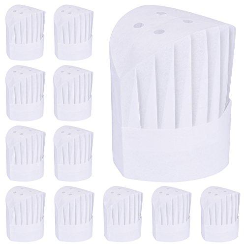Willbond 12 Packung Einweg 9 Zoll Küchenchef Hut Set Verstellbare Küche Kochen Chef Cap für Haus Küche, Restaurants, Schule, Geburtstagsfeier oder Catering Ausrüstung