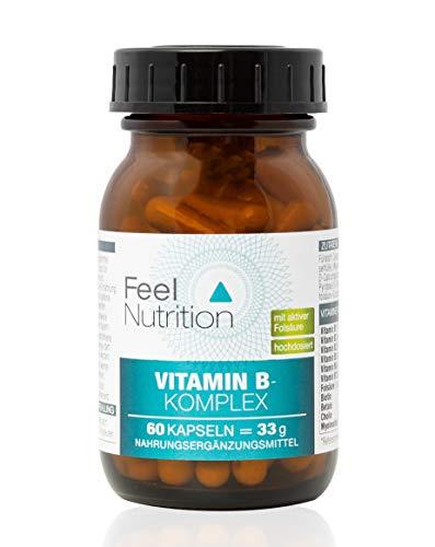 Vitamin B-Komplex - IM GLAS, OHNE WEICHMACHER - OHNE Magnesiumstearat - vegan & hochdosiert - Vitamin B12 in der aktiven Form als Methylcobalamin - 60 Kapseln - Deutsche Premiumqualität
