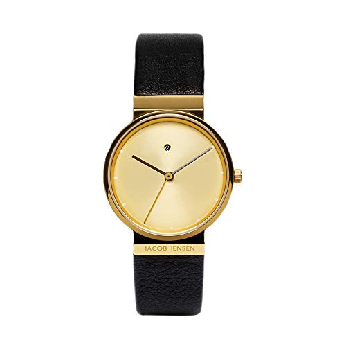 JACOB JENSEN Damen Analog Quarz Uhr mit Leder Armband Dimension Series Item NO.: 855