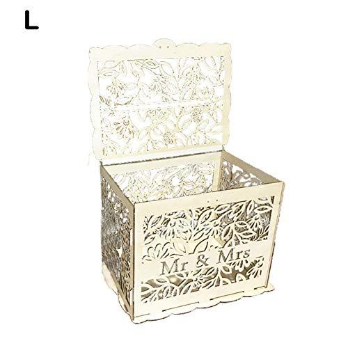 Waroomss Hochzeitskarte Box, hölzerne Hochzeit Post Box für Karten, rustikale Hochzeitsempfang Karte Box, Card Organizer mit Schloss für Geburtstag Party Favor Baby Shower